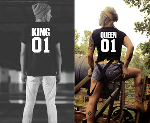 King 01 Queen 01 Couple Family matching outfit T shirt-men woman T shirts-DiamondsKT