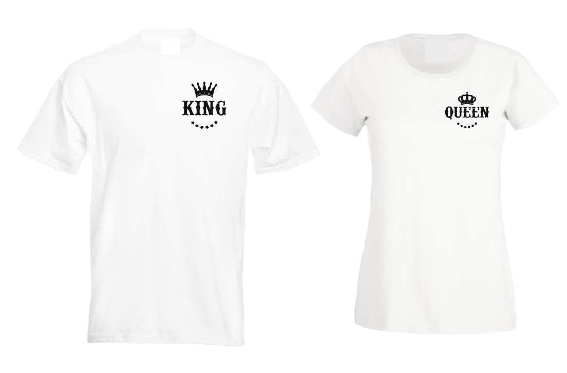 King Queen Couple Family matching outfit T shirt-men woman T shirts-DiamondsKT