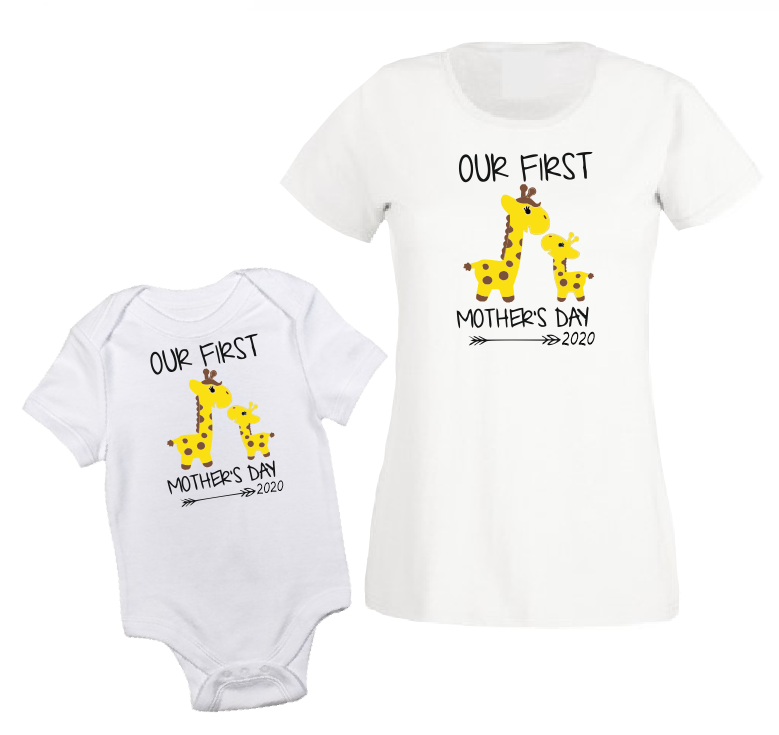 Our first Mothers's day matching outfit white black baby bodysuit / onesie-baby bodysuit onesie-DiamondsKT