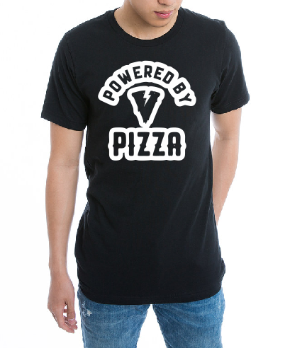 powered by Pizza T shirt-men woman T shirts-DiamondsKT