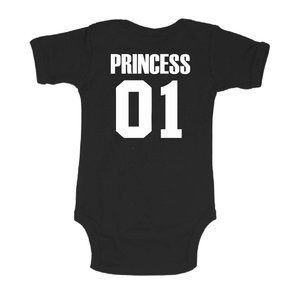 Princess 01 white black baby bodysuit / onesie-baby bodysuit onesie-DiamondsKT
