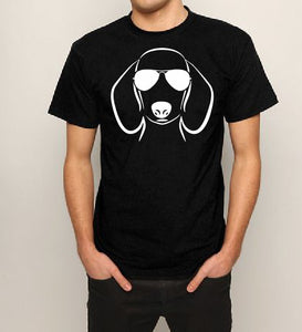 Sausage dog with sunglasses T shirt-men woman T shirts-DiamondsKT