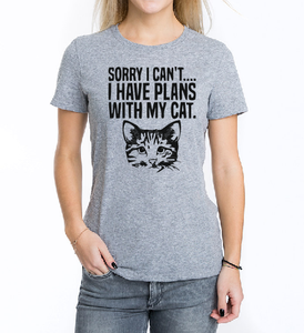 Sorry I can't I have plans with my cat T shirt-men woman T shirts-DiamondsKT