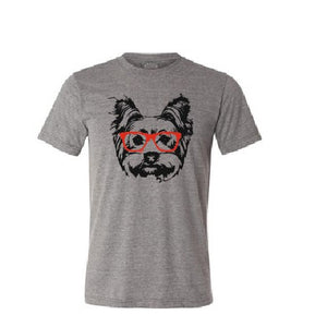 Yorkshire terrier dog with red sunglasses T shirt-men woman T shirts-DiamondsKT