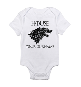 House your surname white black baby bodysuit / onesie-baby bodysuit onesie-DiamondsKT