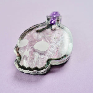 Skull Bottle Brooch - Lavender Elixir