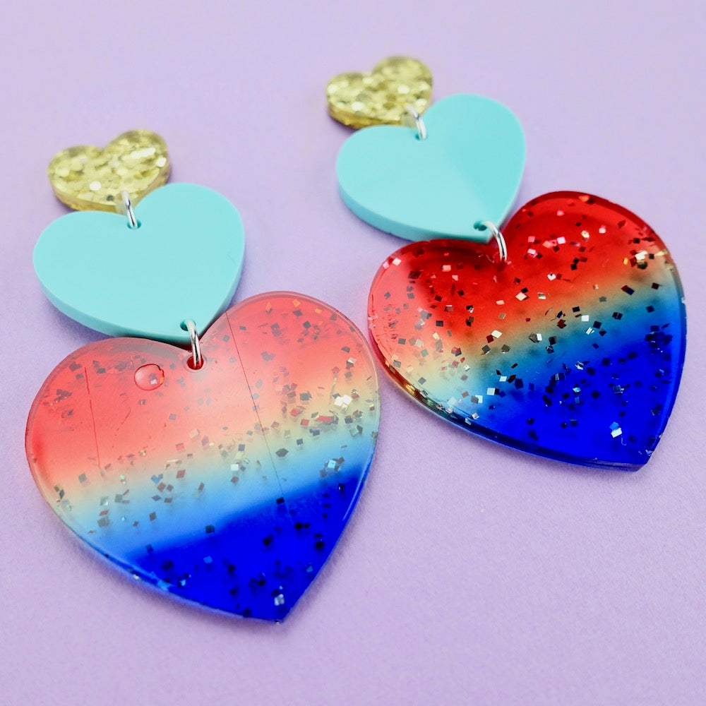 Triple Heart Earrings - Rainbow
