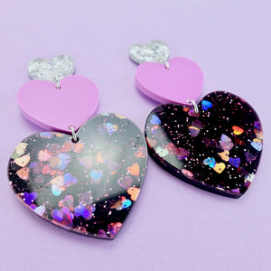 Triple Heart Earrings - Black Glitter