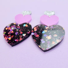 Load image into Gallery viewer, Triple Heart Earrings - Black Glitter
