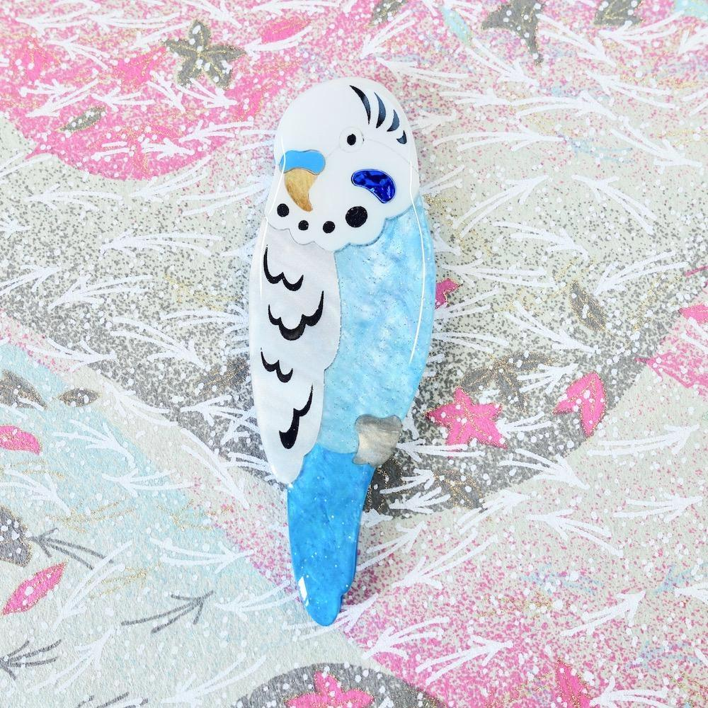 RETIRED - Benji the Blue Budgie Brooch - edenki