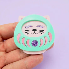 Load image into Gallery viewer, Neko Daruma Brooch - Pastel - edenki