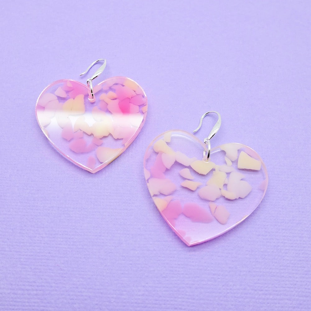 Heart Earrings - Pink & Lemon - edenki