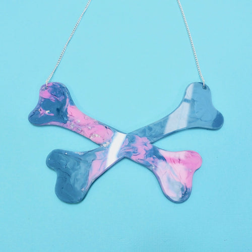 Crossbones Resin Necklace in Nebula - edenki
