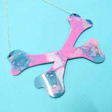 Load image into Gallery viewer, Crossbones Resin Necklace in Nebula - edenki