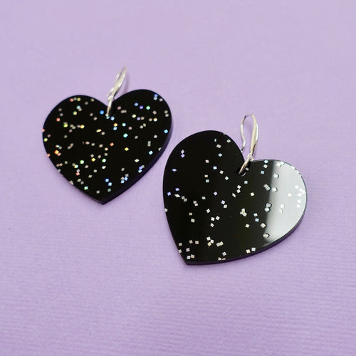 Heart Earrings - Black Galaxy - edenki