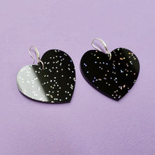 Load image into Gallery viewer, Heart Earrings - Black Galaxy - edenki