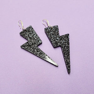 Lightning Bolt Earrings - Black Glitter - edenki