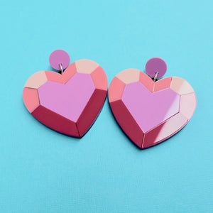 Heart Gem Statement Earrings - edenki