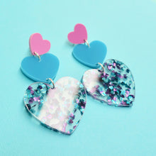 Load image into Gallery viewer, Triple Heart Earrings - Turquoise - edenki