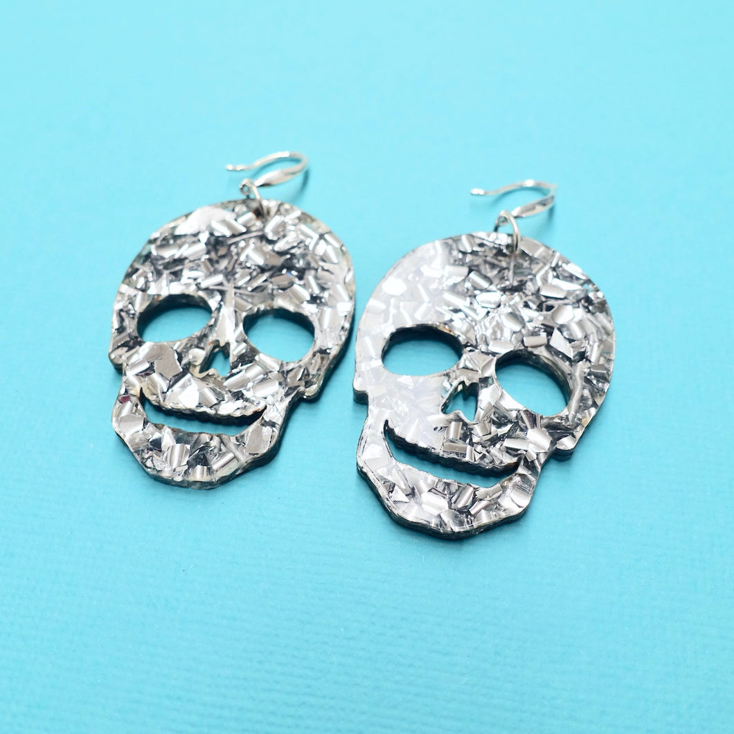 Skull Earrings - Chunky Silver Glitter - edenki