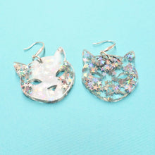 Load image into Gallery viewer, Cat Earrings - Iridescent Star Glitter - edenki