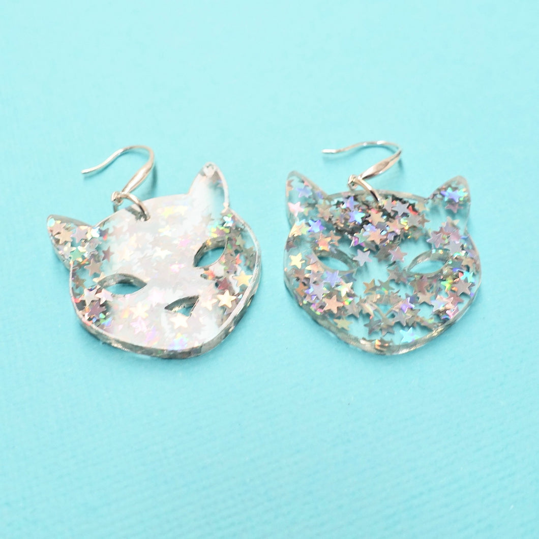 Cat Earrings - Iridescent Star Glitter - edenki