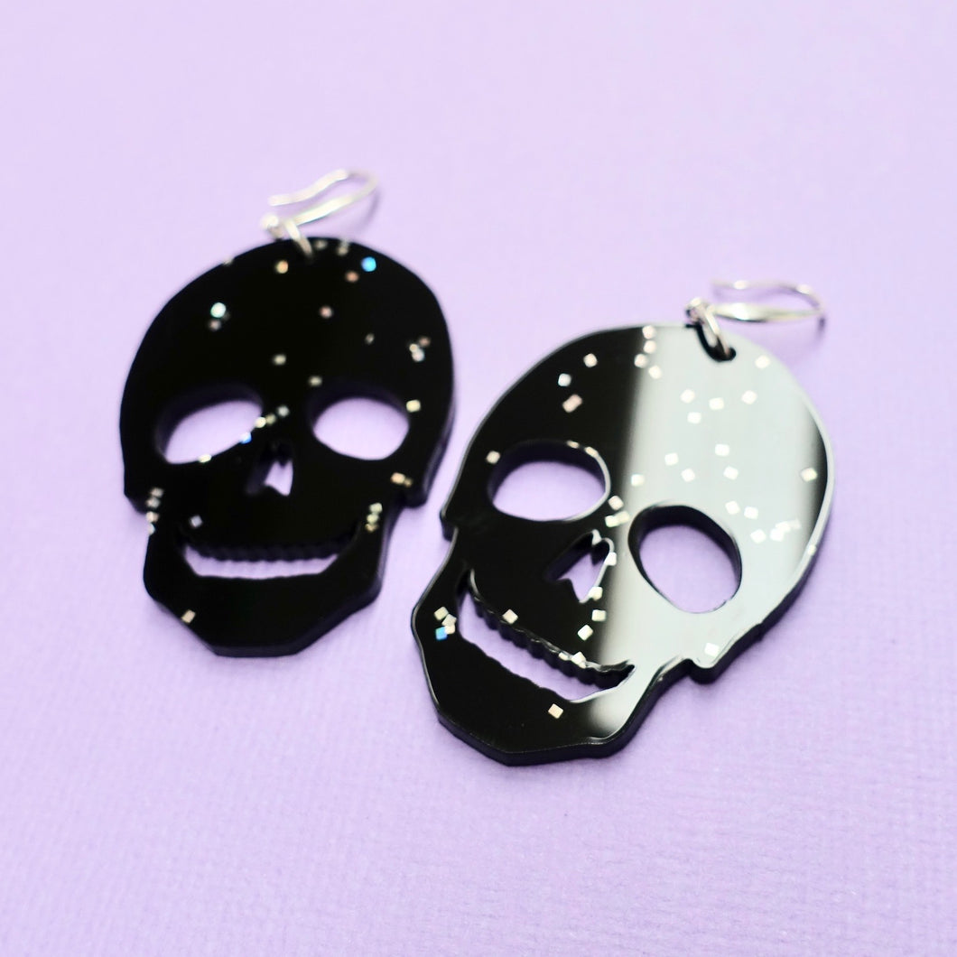 Skull Earrings - Black Galaxy - edenki