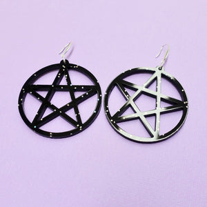 Pentagram Earrings - Black Galaxy - edenki
