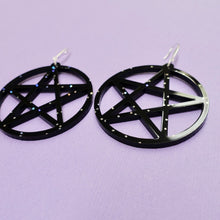 Load image into Gallery viewer, Pentagram Earrings - Black Galaxy - edenki