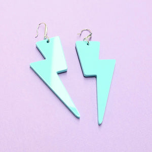 Lightning Bolt Earrings - Mint Green - edenki
