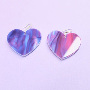 Heart Earrings - Blue and Purple Marble - edenki