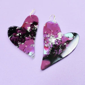 Resin Heart Earrings in Xeno - edenki