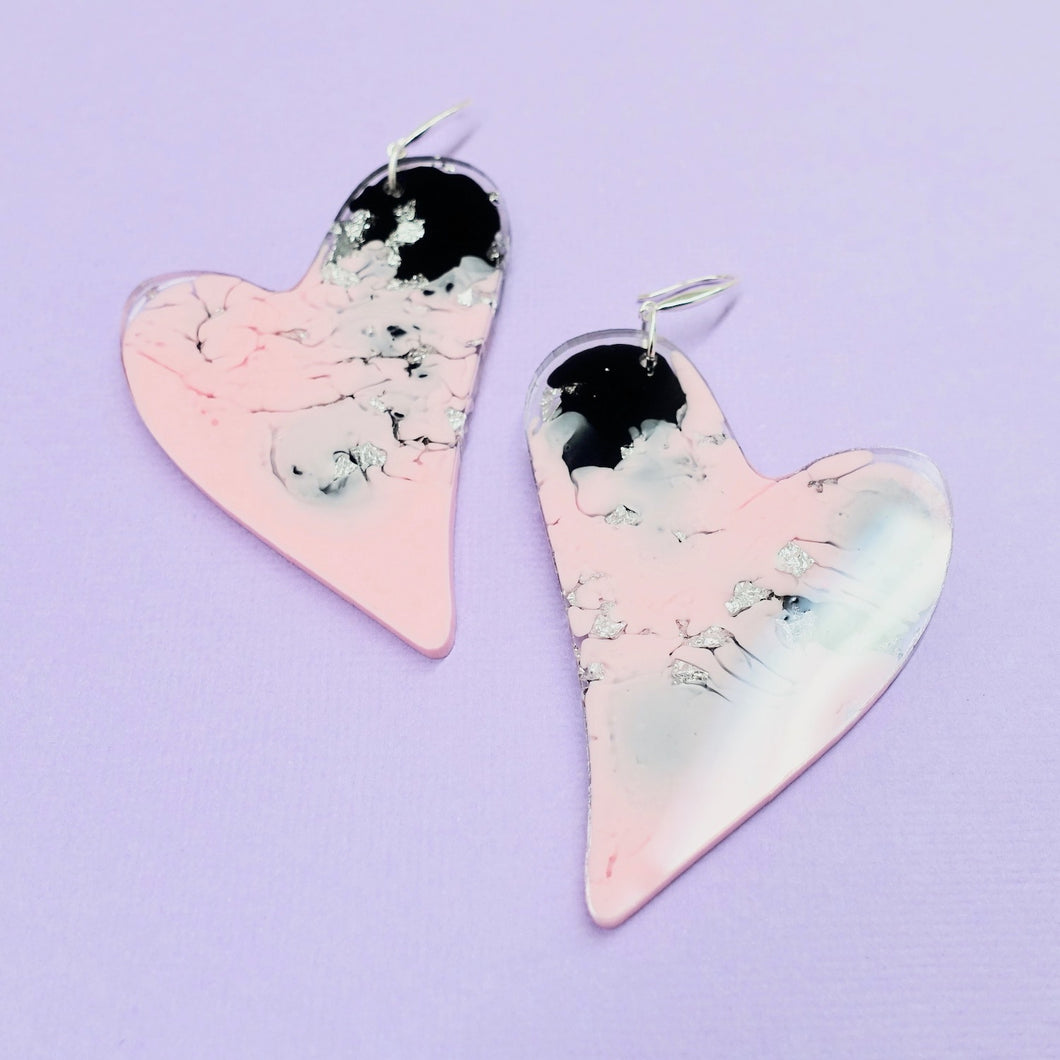 Resin Heart Earrings in Figment - edenki