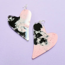 Load image into Gallery viewer, Resin Heart Earrings in Figment - edenki