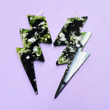 Load image into Gallery viewer, Lightning Bolt Statement Earrings in Toxic - edenki