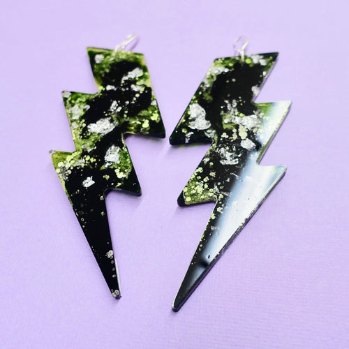 Lightning Bolt Statement Earrings in Toxic - edenki
