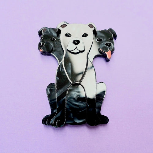 Fluffy Three-Headed Dog Brooch - edenki