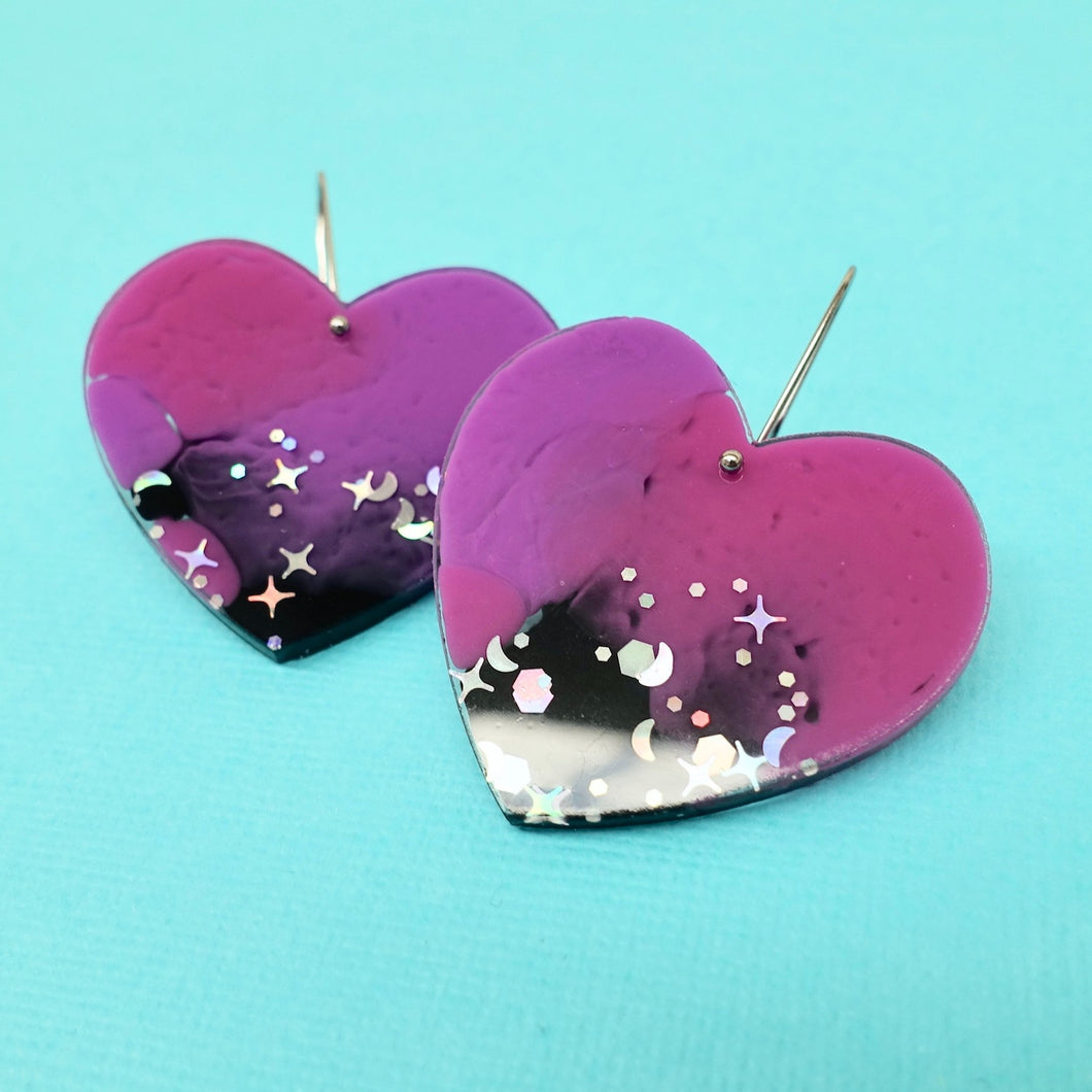 Sweet Heart Earrings in Galaxy - edenki