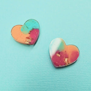 Studs - Heart Earrings in Sunset - edenki