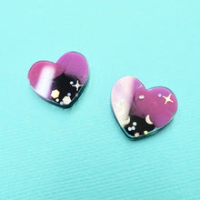 Load image into Gallery viewer, Studs - Heart Earrings in Galaxy - edenki
