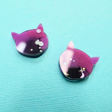 Load image into Gallery viewer, Studs - Cat Earrings in Galaxy - edenki