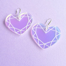Load image into Gallery viewer, Heart Earrings - Iridescent Gem - edenki