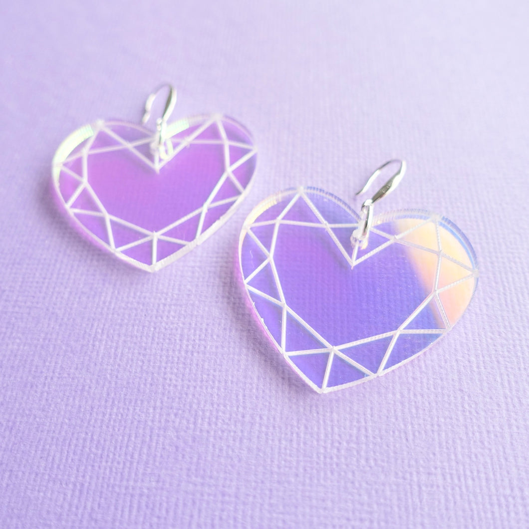 Heart Earrings - Iridescent Gem - edenki