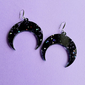 Crescent Moon Earrings - Chunky Black Glitter - edenki