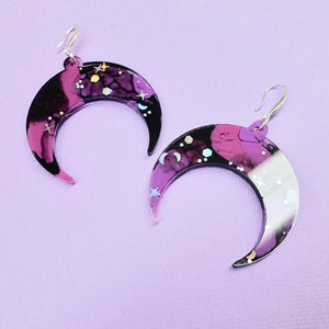 Resin Crescent Moon Earrings - Galaxy - edenki