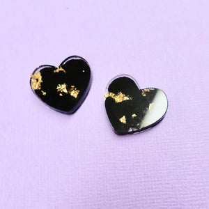 Studs - Heart Earrings in Black - edenki