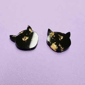 Studs - Cat Earrings in Black - edenki