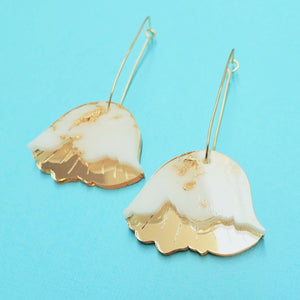 Botanica - Hollyhock Earrings in White - edenki