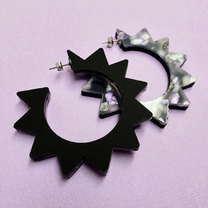 Spiky Hoop Earrings - Black + Purple Bloom - edenki