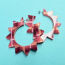 Load image into Gallery viewer, Spiky Hoop Earrings - Sherbet + Pink - edenki